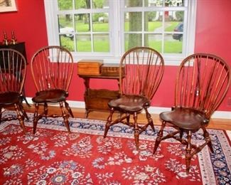 Four D.R. Dimes bowback Windsor chairs with brace