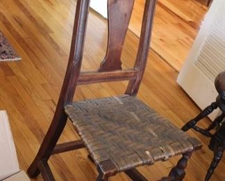 Early Queen Anne vasiform back side chair with Spanish feet