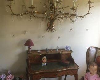 antique secretary table, antique dolls