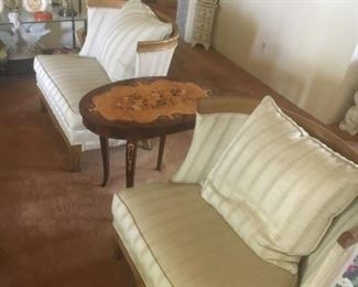 •Antique Chinese Coffee Table •Like new Vintage White Mid-Century  Couches •Walnut secretary's desk •Pair of Victorian Style Chairs •Hollywood Regency Jere Style Wall Light •Antique side table