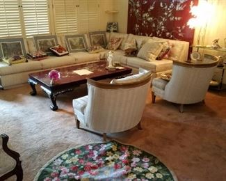 •Antique Chinese Coffee Table •Like new Vintage White Mid-Century  Couches •Walnut secretary's desk •Pair of Victorian Style Chairs rugs
