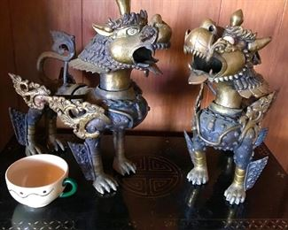 Large Nepal bronze foo dogs