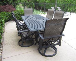 PATIO TABLE AND SWIVEL CHAIRS BY CASTELLE