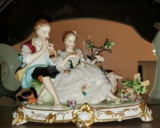 Large Unterweissbach Porcelain and Lace Figurine