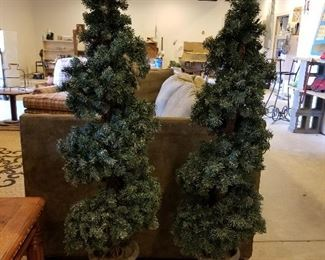 Four Lighted Outdoor Trees