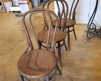 Set of Four Bent Wood Chairs