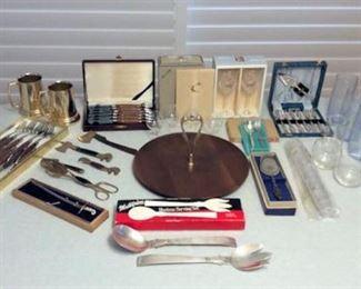 FMF009 Silver Plate Flatware, Wooden Handled Flatware, Rosewood Serving Tray