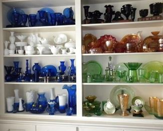 VINTAGE AND ANTIQUE GLASS: CARNIVAL GLASS,  BLACK AMETHYST, MILK GLASS & VASELINE GLASS AND SO MUCH MORE...
