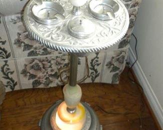 1920'S ART DECO ASHTRAY STAND W/SLAG GLASS
