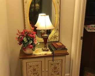 Ethan Allen painted mirror and chest. Lovely pieces.