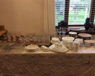 Nice glassware, white Corelle dishes, China set