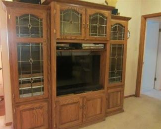 Beautiful Oak Entertainment center with Leaded Glass, like new Vizio flat screen TV, more