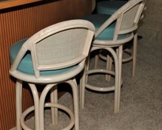 3 Ficks Reed White Swivel Bar Stools/Chairs