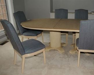 LARGE DINING ROOM SET ~ WITH 8 CHAIRS AND PAD ~ DOUBLE PEDESTAL
