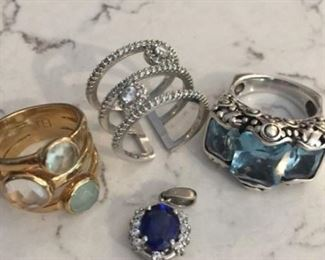 Sapphire pendant $35 Multi-stone 3 stack ring from Red Envelope $30 Blue Topaz Art Deco ring $80