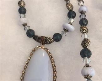 Blue Lace  Agate and Crystal necklace $25 Matching bracelet $15