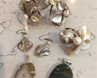 Mother of Pearl Copper Set - cuff bracelet, earrings, ring for $40
