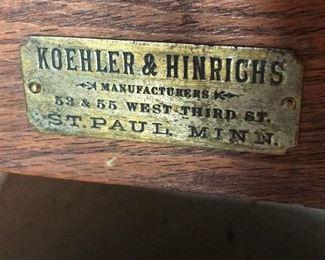 Koehler and Hinrichs Antique dry sink