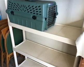 Shelves and pet carrier