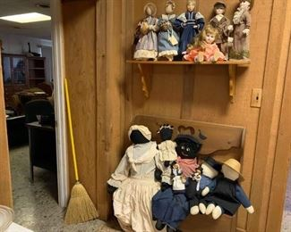 Dolls and bench