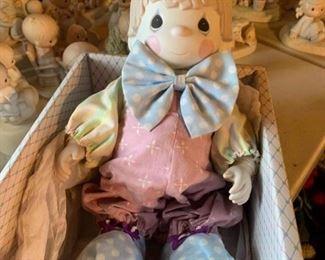 Precious Moments ceramic clown doll in box