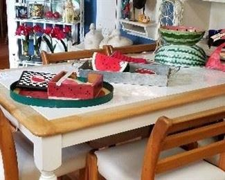 Large tile table with custom chairs