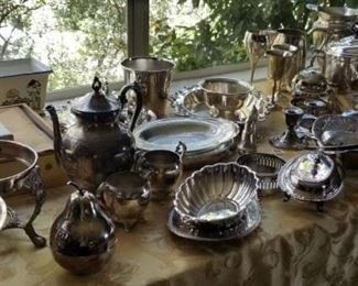 Lots of plated serving pieces