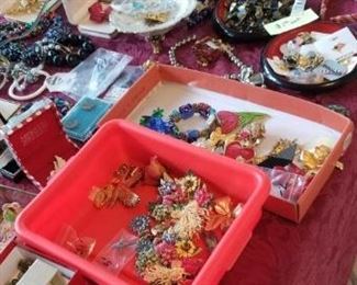 Table full of costume jewelry