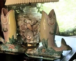 Pair of handpainted red fish and shell lamp