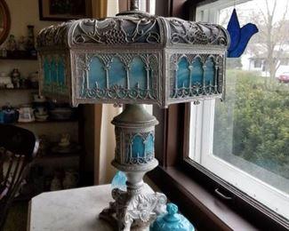 Beautiful slag glass lamp