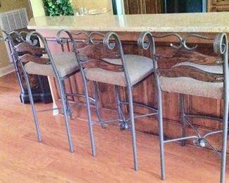 3 Wrought Iron Counter Height Bar Stools