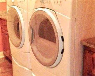 Whirlpool Duet Washer & Dryer on pedestal bases