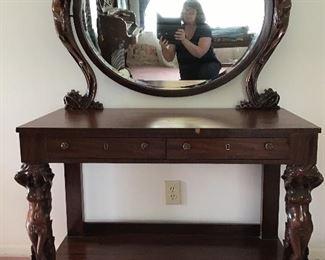 Art Deco Carved FIGURAL Vanity Dresser
