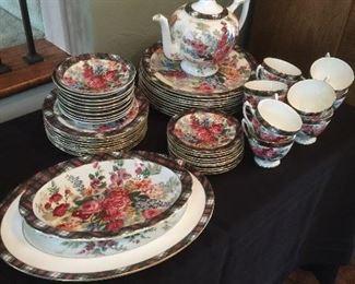 "Ralph Lauren ""Hampton Floral"" Wedgwood. Place setting for 10, teapot, platter & vegetable bowl.  $2000"