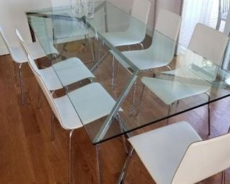 Dining room table - chrome and glass.