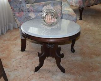 Vintage End Table With Marble Top