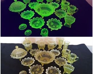 Vaseline Glass. With and without the black light.