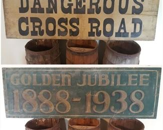 Double sided wood road sign that was used in 1938 for the Zion Church golden jubilee.