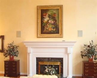 Living Room:  Artwork and chests highlight the fireplace.  Closer photos of each are coming up!