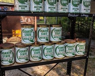 Vintage Quaker state and other oil cans