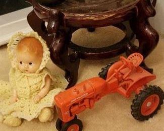 Allis Chalmers and John Deere Vintage metal toy tractors