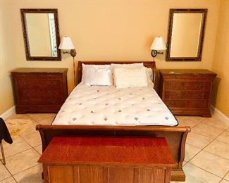 Solid Wood Sleigh Bed with Matching Granite Top Nightstands & Armoire