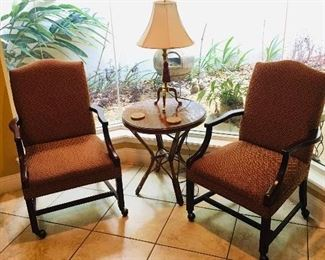 Vintage Bamboo Table; Arm Chairs on Wheels