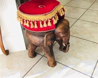 Carved Wood Elephant Stool