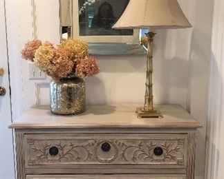 Love this...and we have TWO! Two drawer, highly ornate, carved fron!