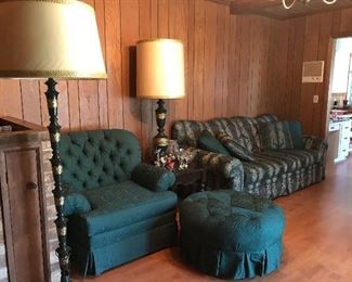 Beautiful deep green sofa, chair and ottoman.  There is also a matching love seat. The ottoman was hardly used and the throw pillows are brand new. The set is great condition and pairs well with the mid century metal green lamps from Japan.  There is matching tabletop lamp.