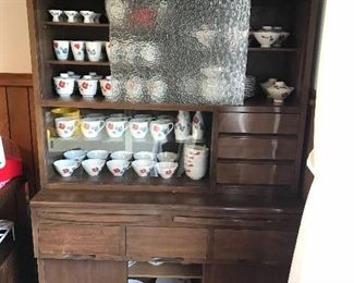 Mid century Japanese china cabinet with vintage Japanese china. An collection of Donabes on top.