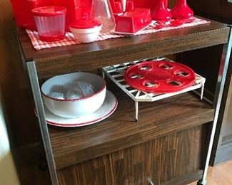 Vintage large microwave with red kitchen items - some of these are from Japan.  Large microwave rack.