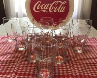 Vintage set of 12 Coca Cola glasses (New) with tray.