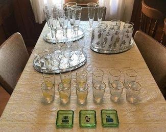 Assorted vintage glassware - Libbey glasses, Suntory beer.